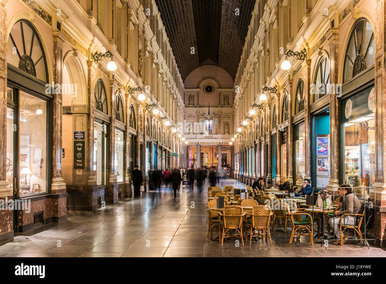 Night view of Galeries St-Hubert, Brussels, Belgium - Stock Image