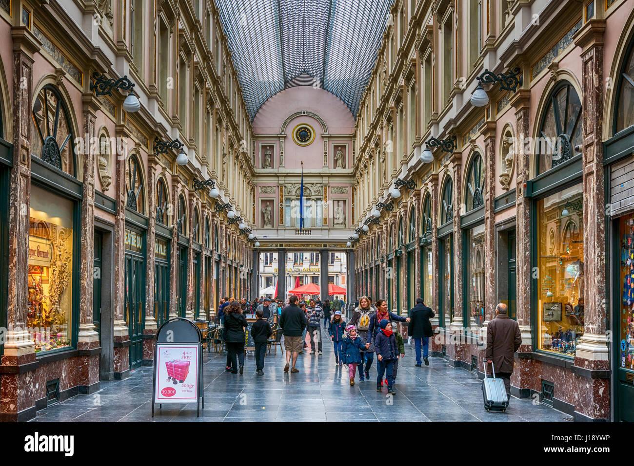 Galeries St-Hubert, Brussels, Belgium - Stock Image