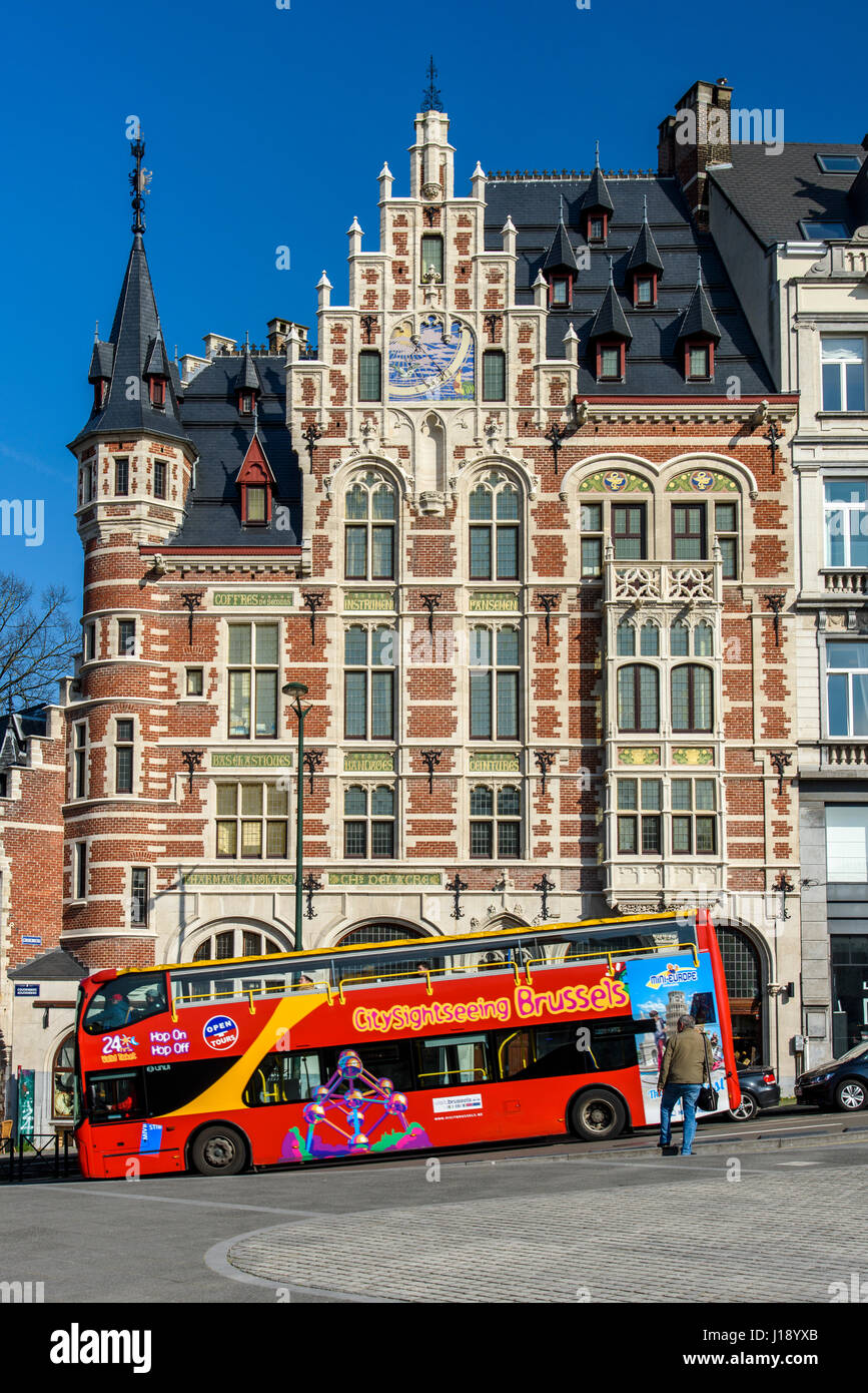 City Sightseeing bus, Brussels, Belgium - Stock Image