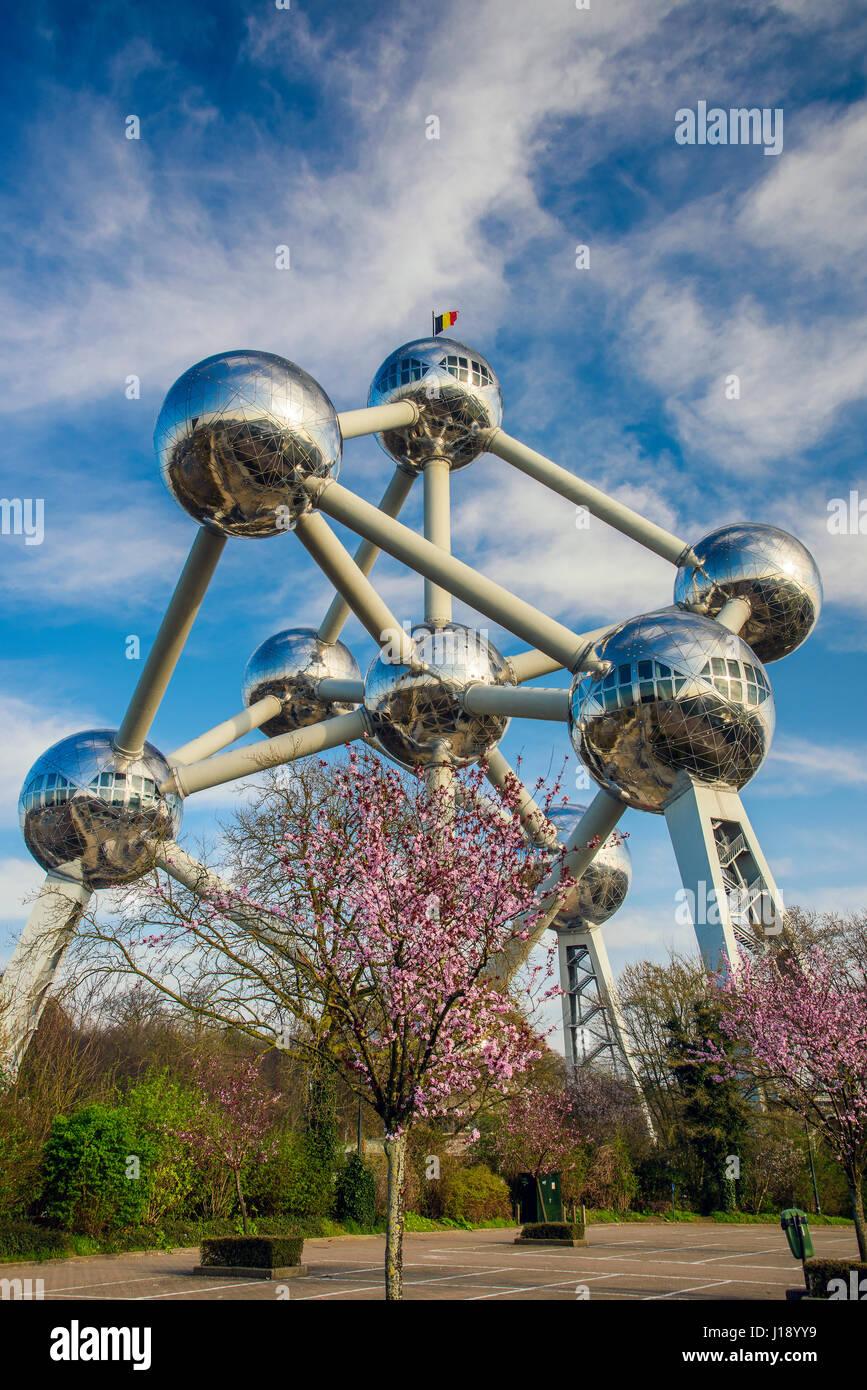 Atomium building originally constructed for Expo 58, Brussels, Belgium - Stock Image