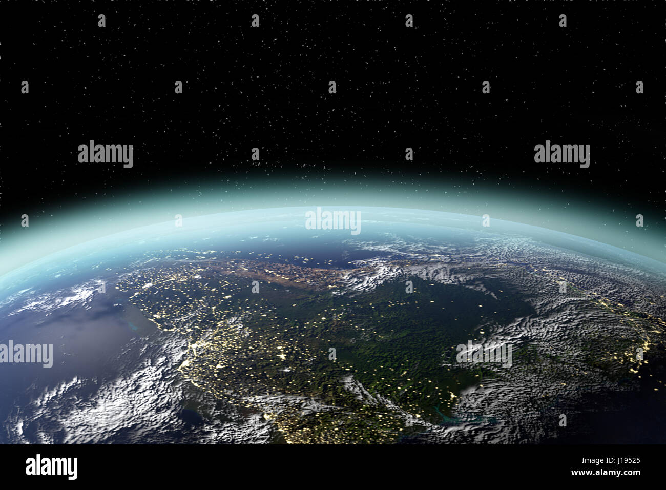 View of planet earth from space in 3D rendering. Elements of this image furnished by NASA - Stock Image