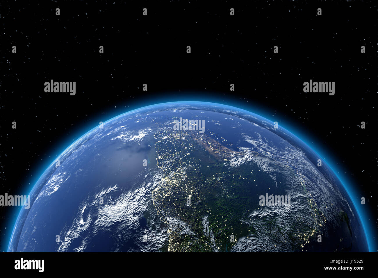 View of planet earth from space in 3D. Elements of this image furnished by NASA - Stock Image