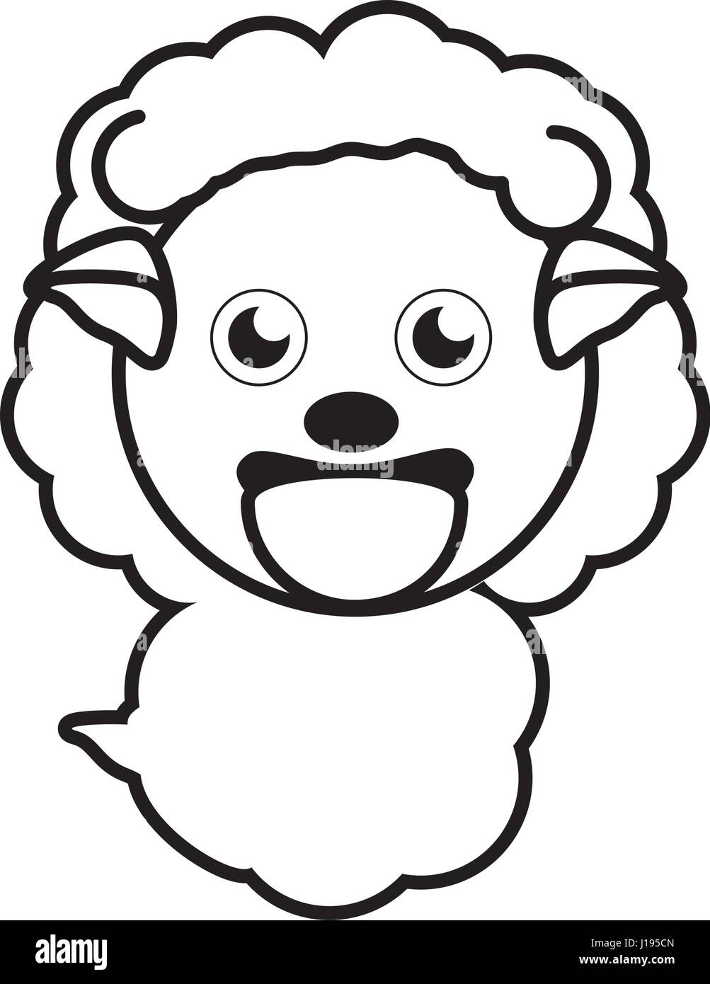 sheep animal toy outline - Stock Vector