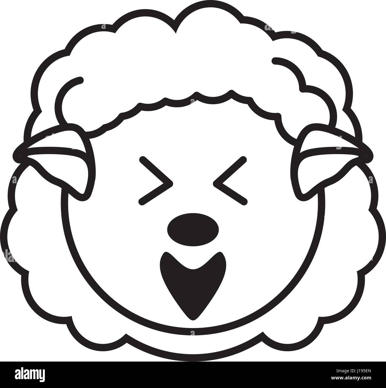 outline sheep head animal Stock Vector