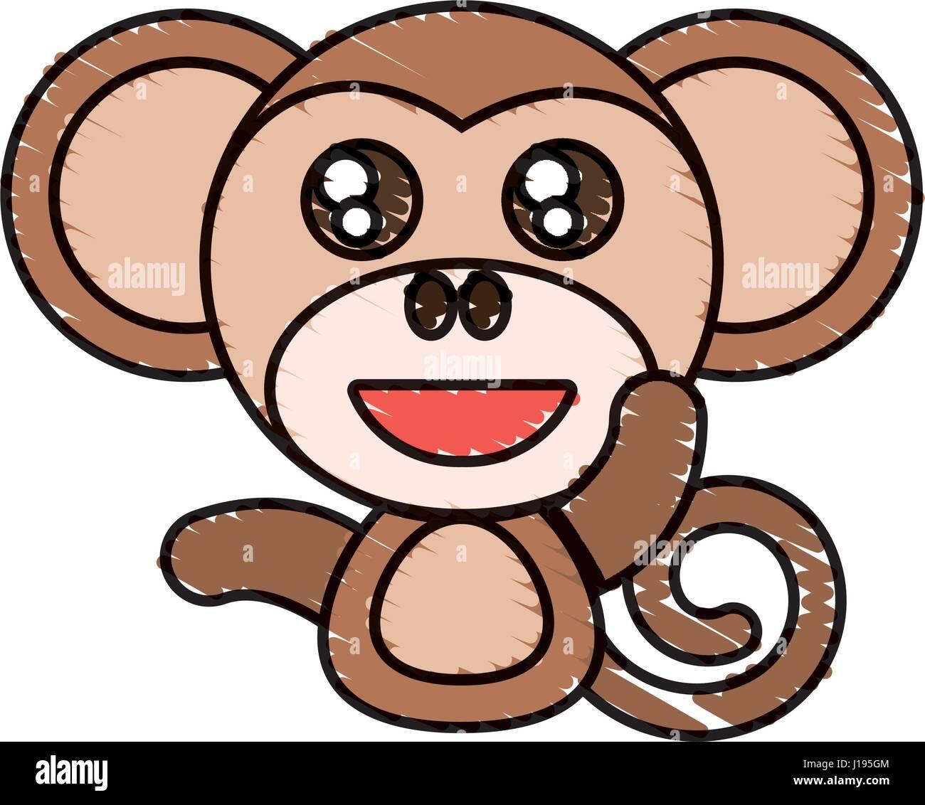 Draw Monkey Animal Comic Stock Vector Art Illustration Vector