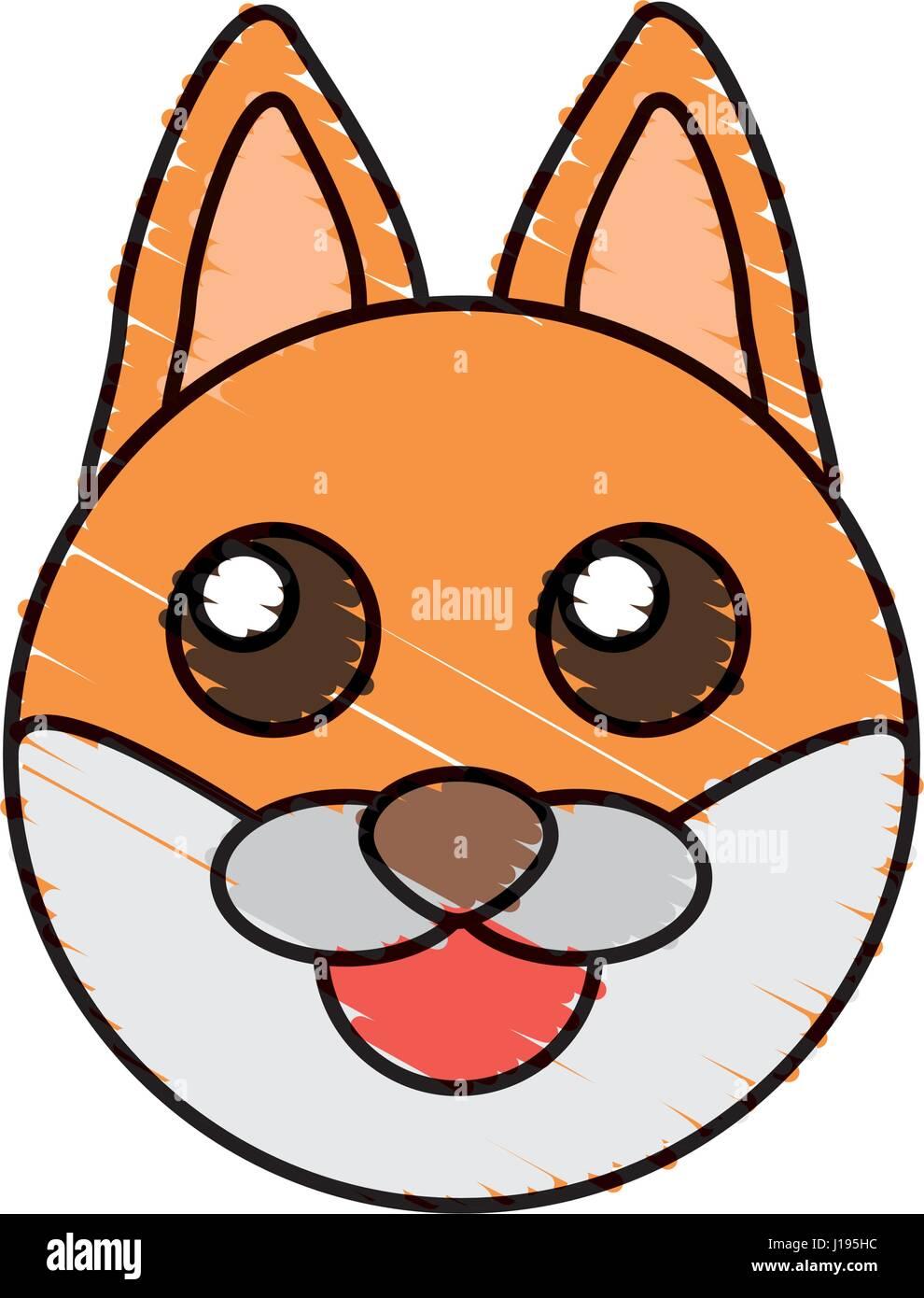 Cute Fox Drawing Animal Stock Vector Art Illustration Vector