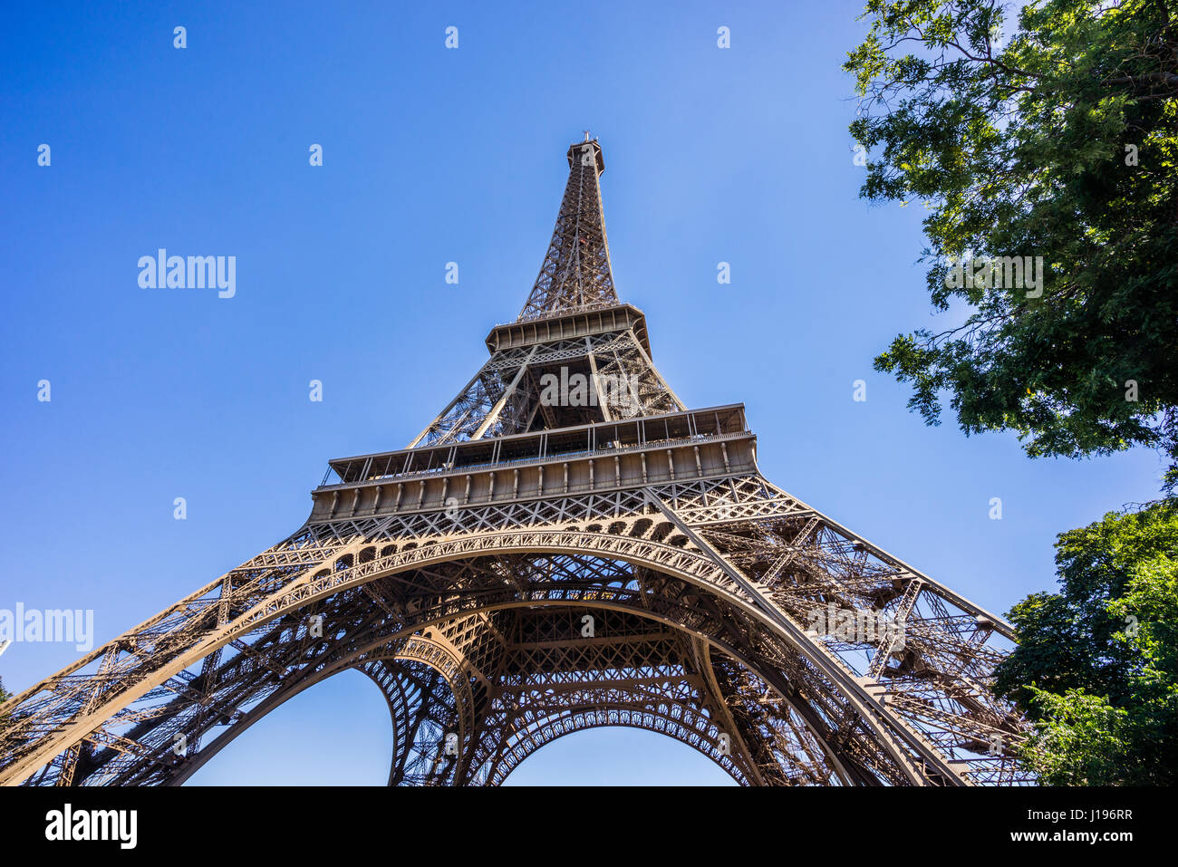 France, Paris, mole's eye view of the Eiffel Tower - Stock Image