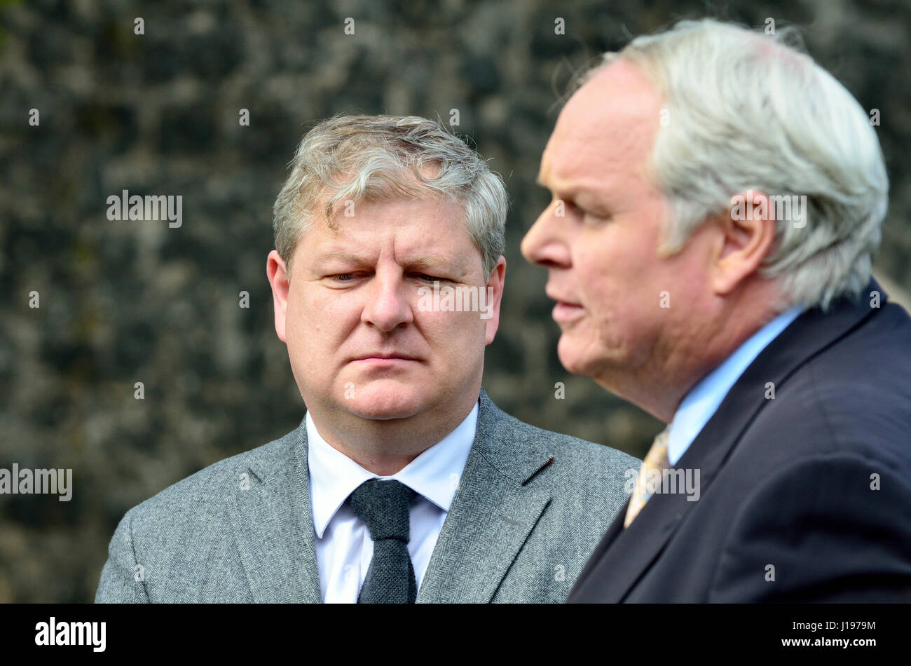 Angus Robertson MP (SNP: Moray) being interviewed by Adam Bolton (Sky News) on College Green, Westminster 18th April - Stock Image