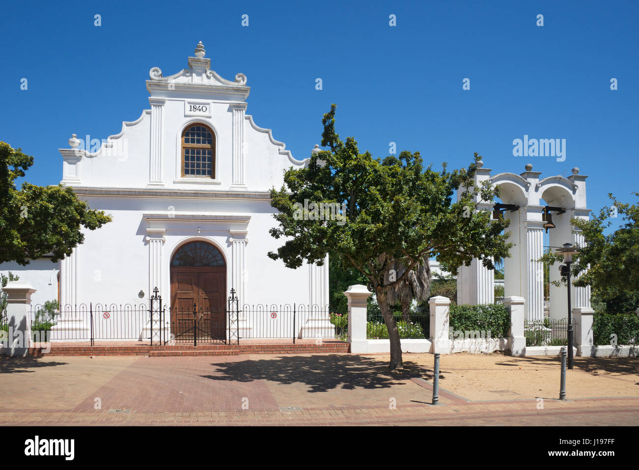 Rhenish Church example Cape Dutch architecture Stellenbosch Western Cape South Africa - Stock Image
