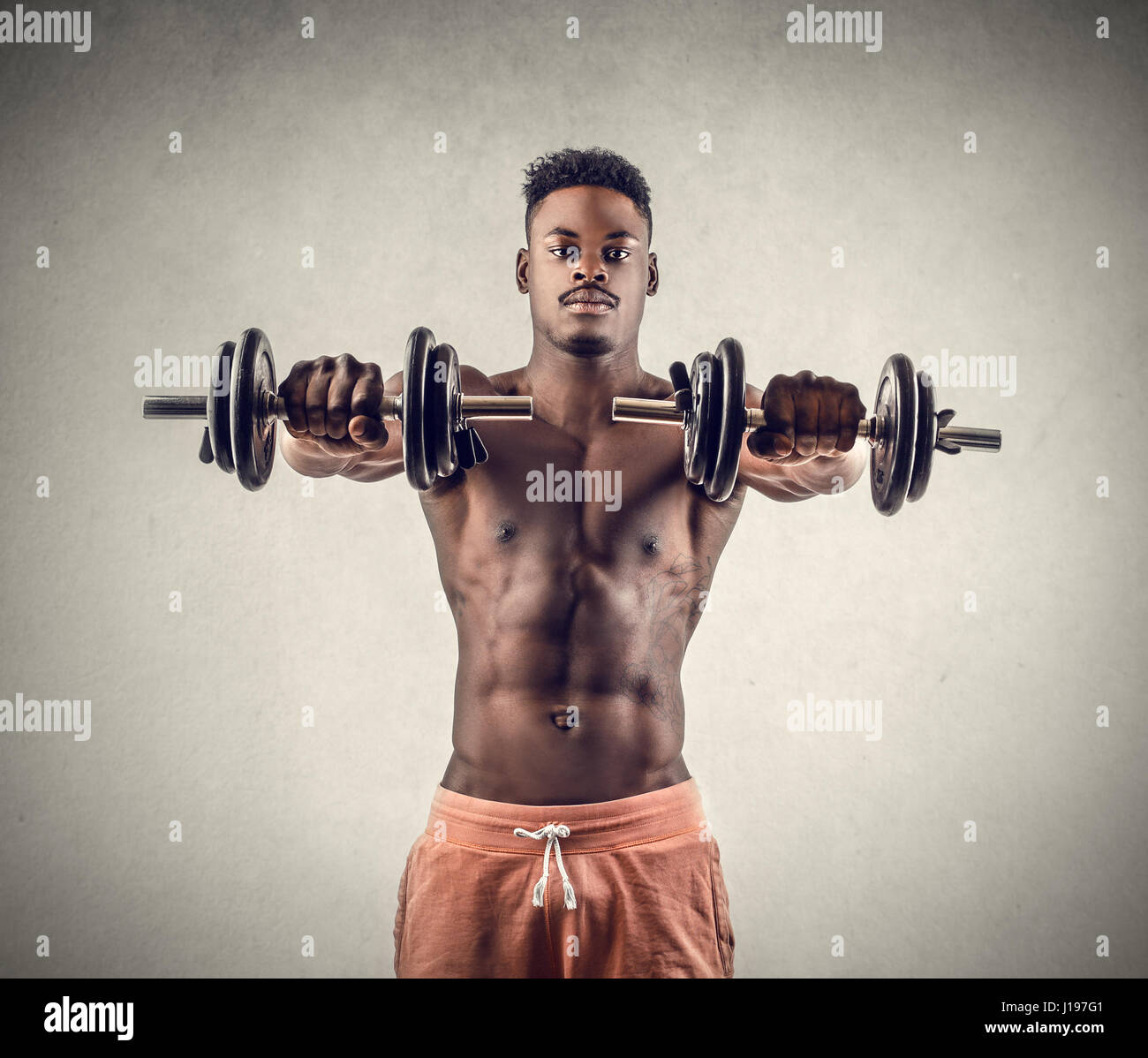 Black man working out - Stock Image