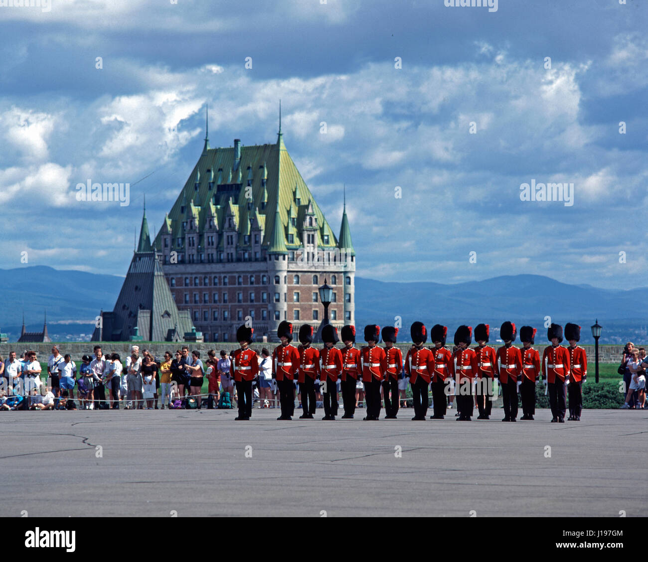 Changing of the Guard in front of Chateau Frontenac, Quebec City, Quebec, Canada. - Stock Image