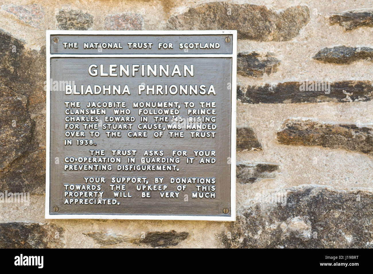Glenfinnan Monument plaque sign - Stock Image