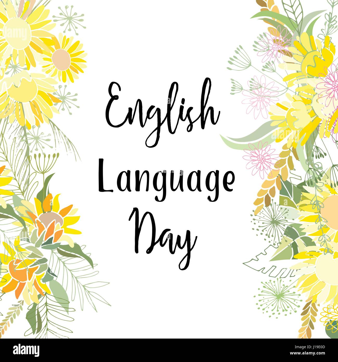 Greeting Card Of The English Language Day Abstract Background Stock