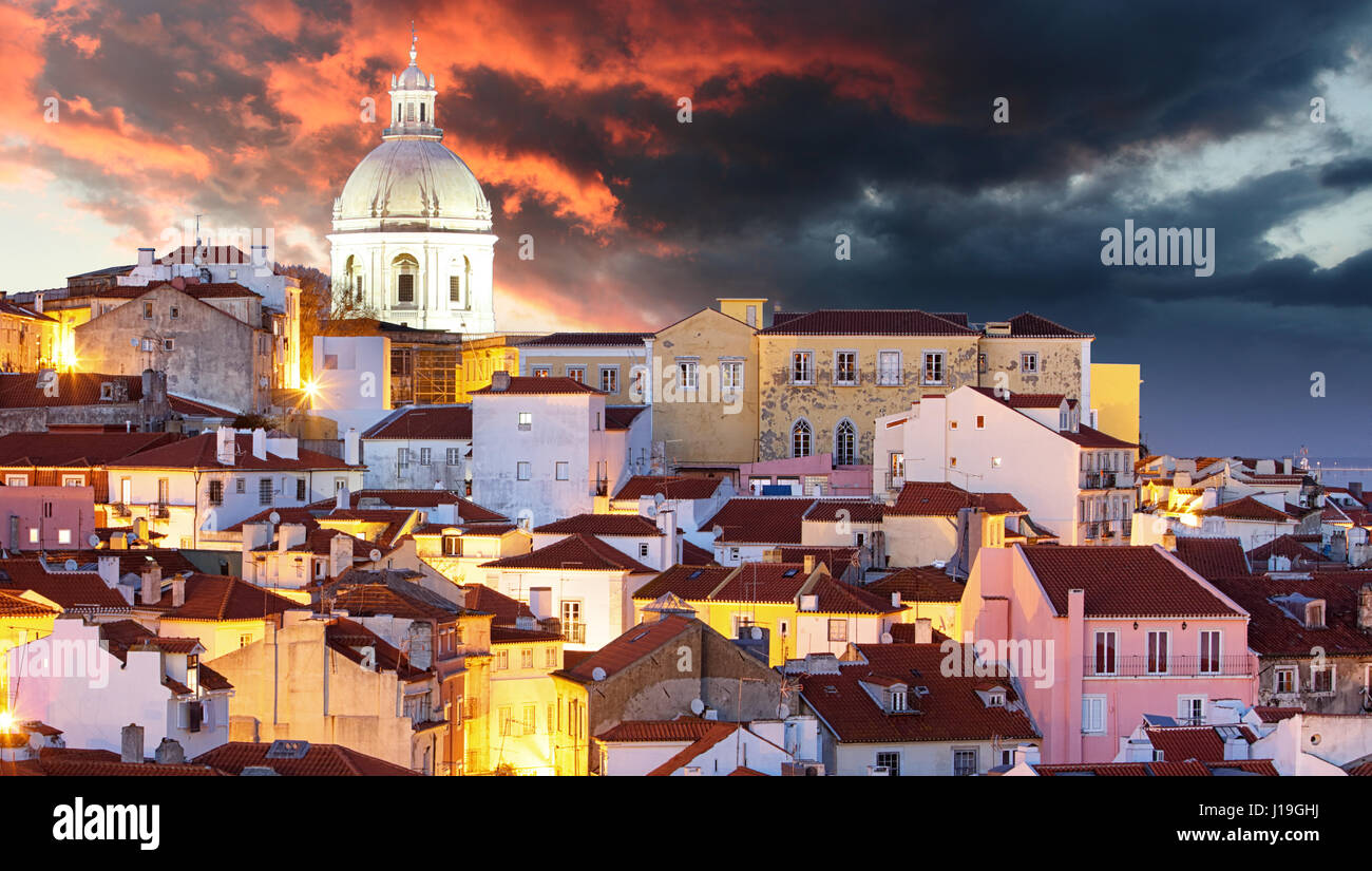 Lisbon at dramatic sunrise - Stock Image