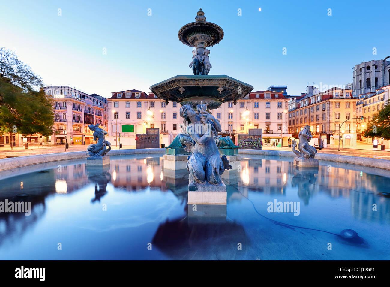 Lisbon, Portugal at Rossio Square - Stock Image