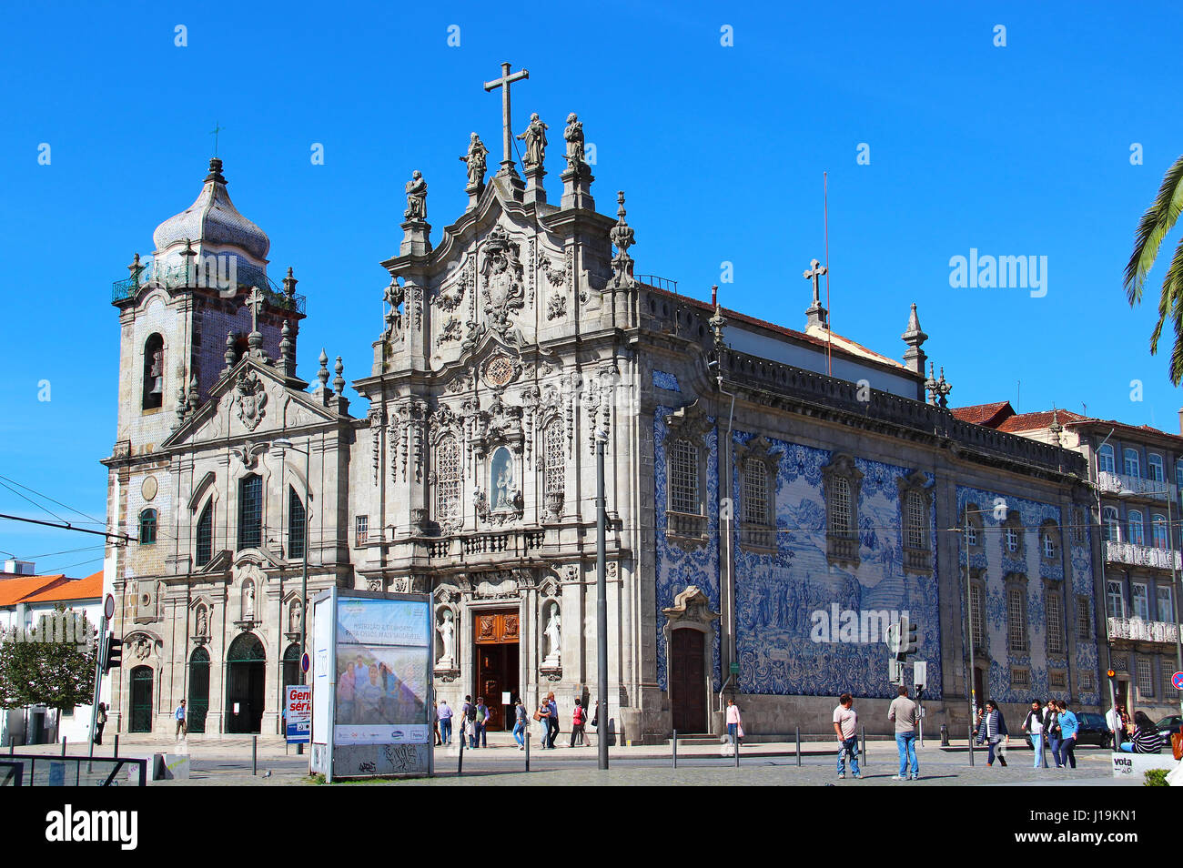PORTO, PORTUGAL - OCTOBER 8, 2015: Carmelitas and Carmo Churches connected with each other and decorated with blue - Stock Image