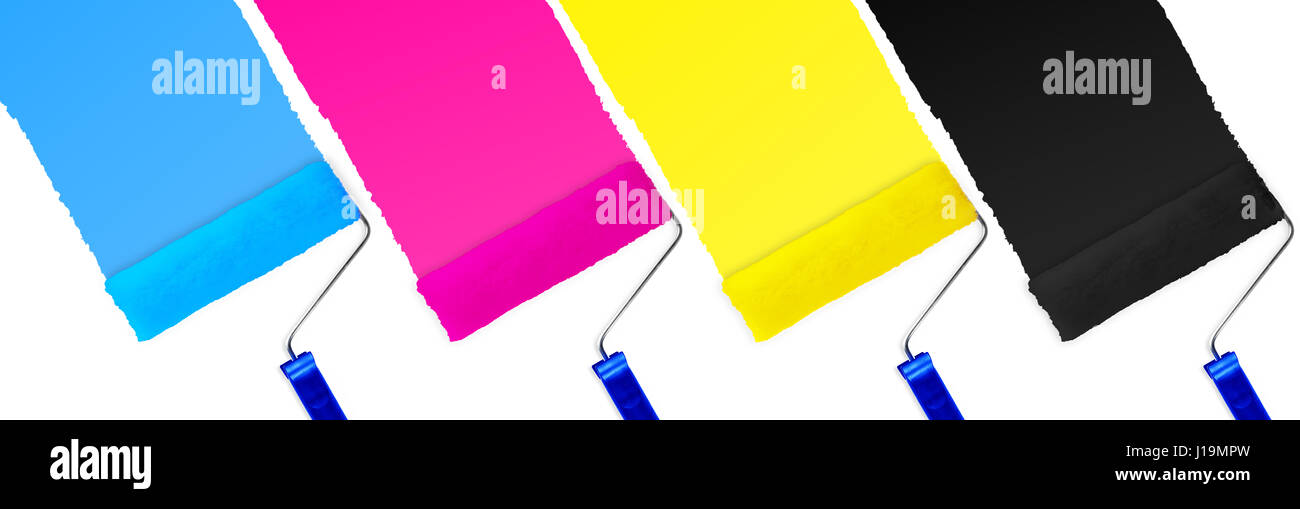 CMYK print symbol set of paint roller isolated on white background - Stock Image