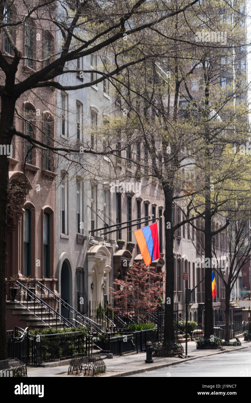 East 36th Street, Murray Hill in Springtime, NYC, USA - Stock Image