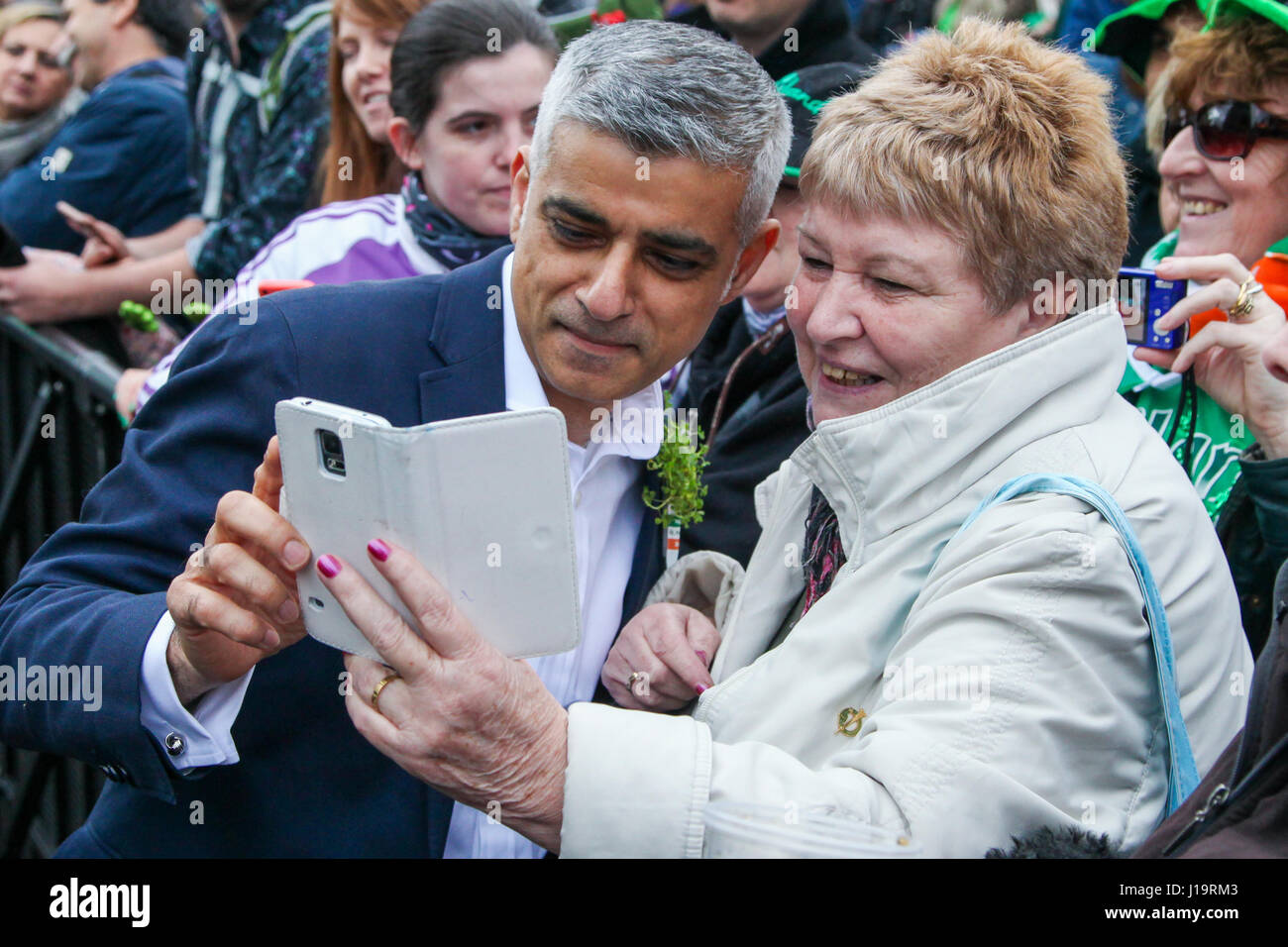 Hundreds of people attend St Patrick's Day celebrations in Trafalgar Square.  Featuring: Mayor of London, Sadiq - Stock Image