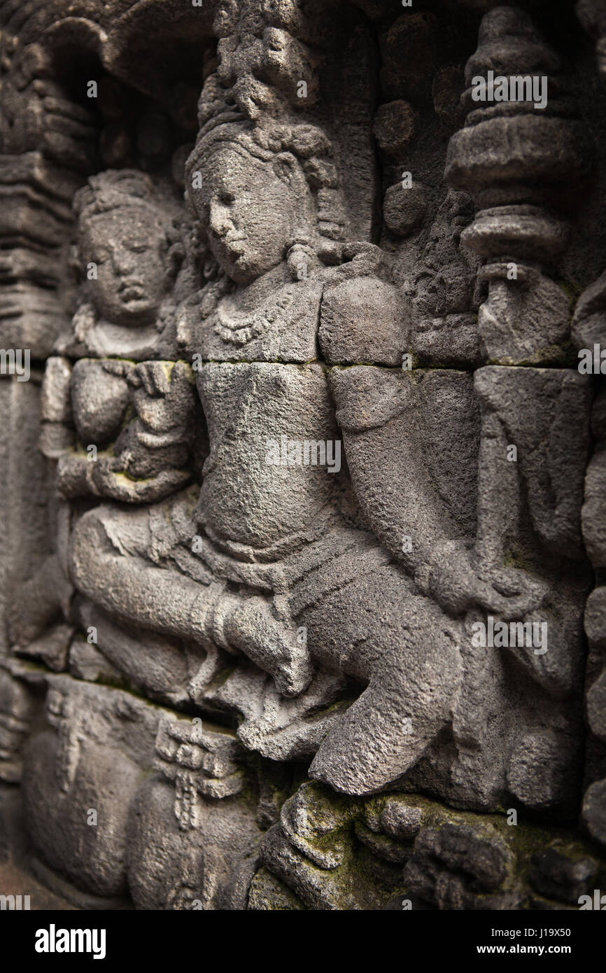 A detail of the stone carvings on the Borobudur in Indonesia, Asia. - Stock Image
