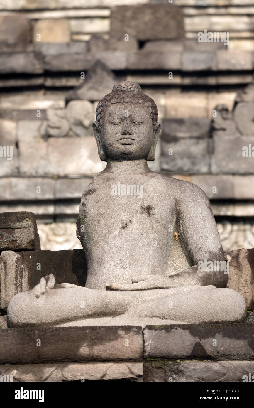 Front view of a meditating Buddha statue. Stock Photo