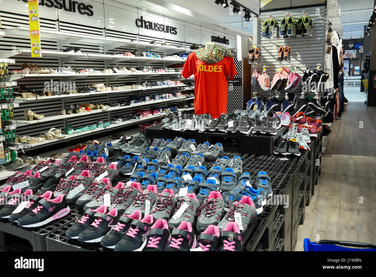 Footwear department of a Carrefour Hypermarket - Stock Image