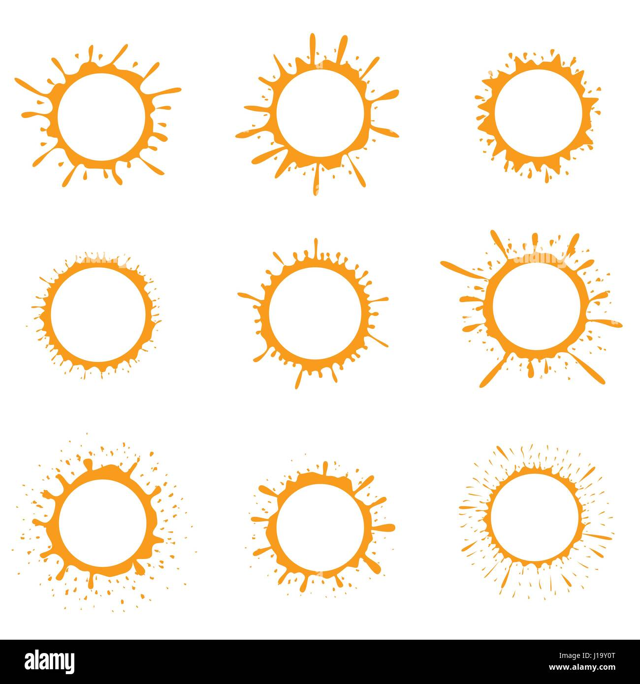 Orange paint splash sun icons - Stock Image