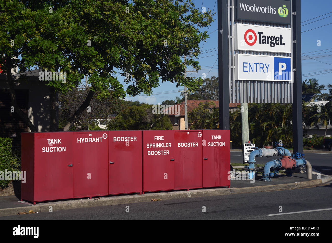 Kippa-Ring, Queensland, Australia: Fire prevention hydrants and boosters at a shopping mall. - Stock Image