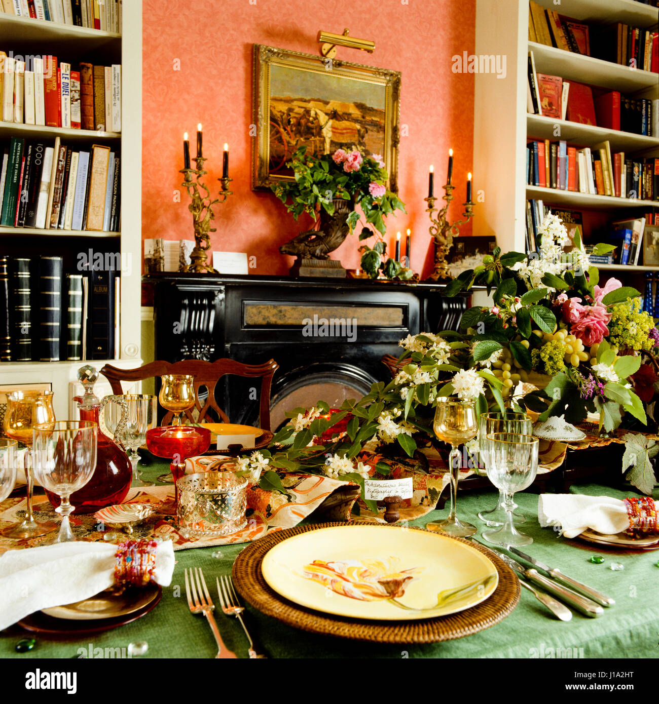 Set table with flowers. - Stock Image