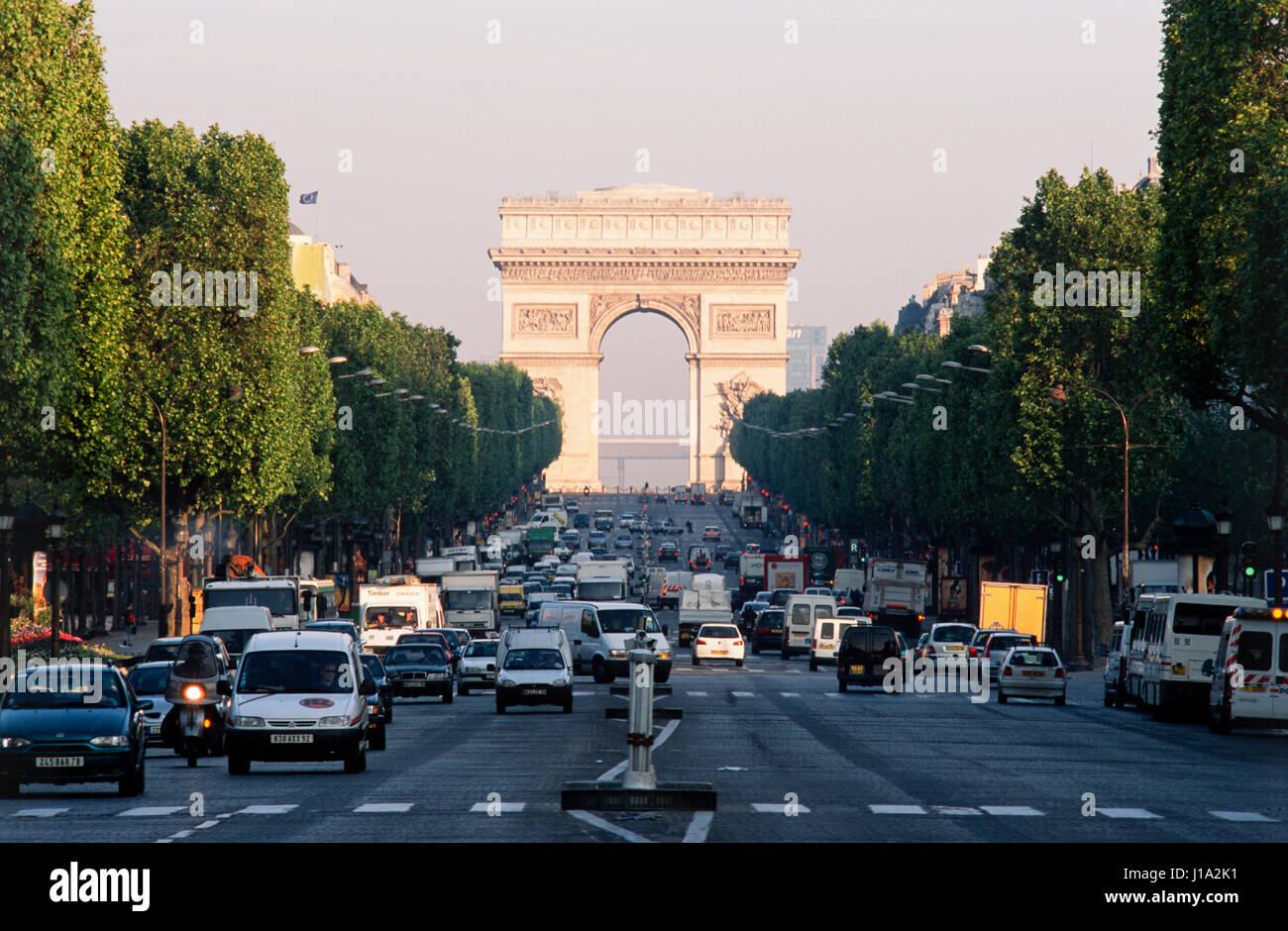 'Champs-Elysees with view of Arc de Triomphe, Paris, France.' - Stock Image