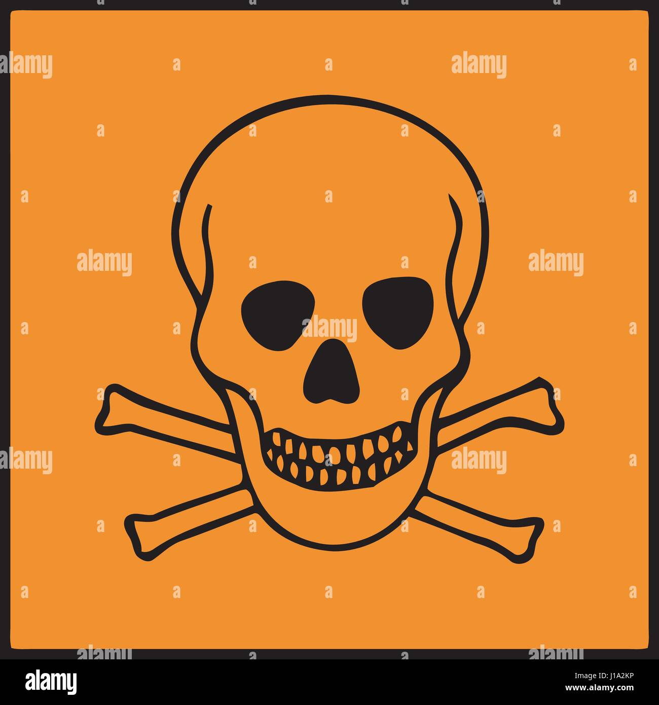 Vector image of symbol of hazard presents on dangerous products - Stock Image
