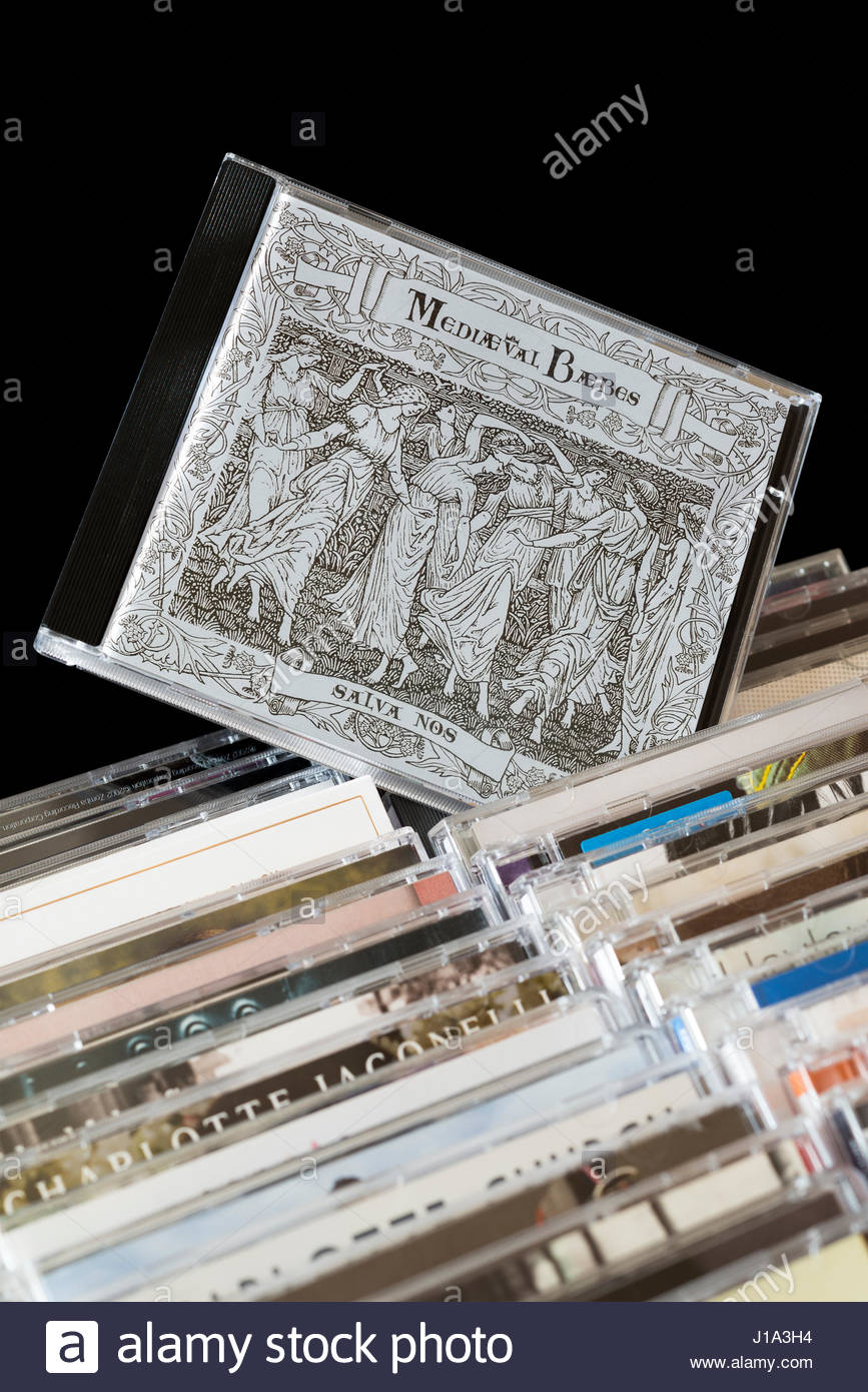 Salva Nos, 1998 Mediaeval Baebes debut CD pulled out from among rows of other CD's, Dorset, England - Stock Image
