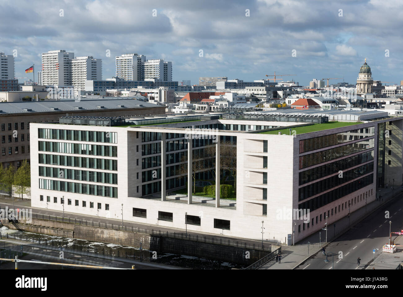 Auswaertiges Amt, German Foreign Office, Ministry of Foreign Affairs, Berlin, view from construction site of the - Stock Image