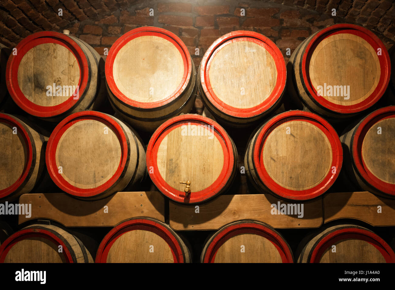 oak barrels stacked top. Oak Barrels Stacked Top. Wine In The Antique Cellar. Cavernous Cellar With Top S