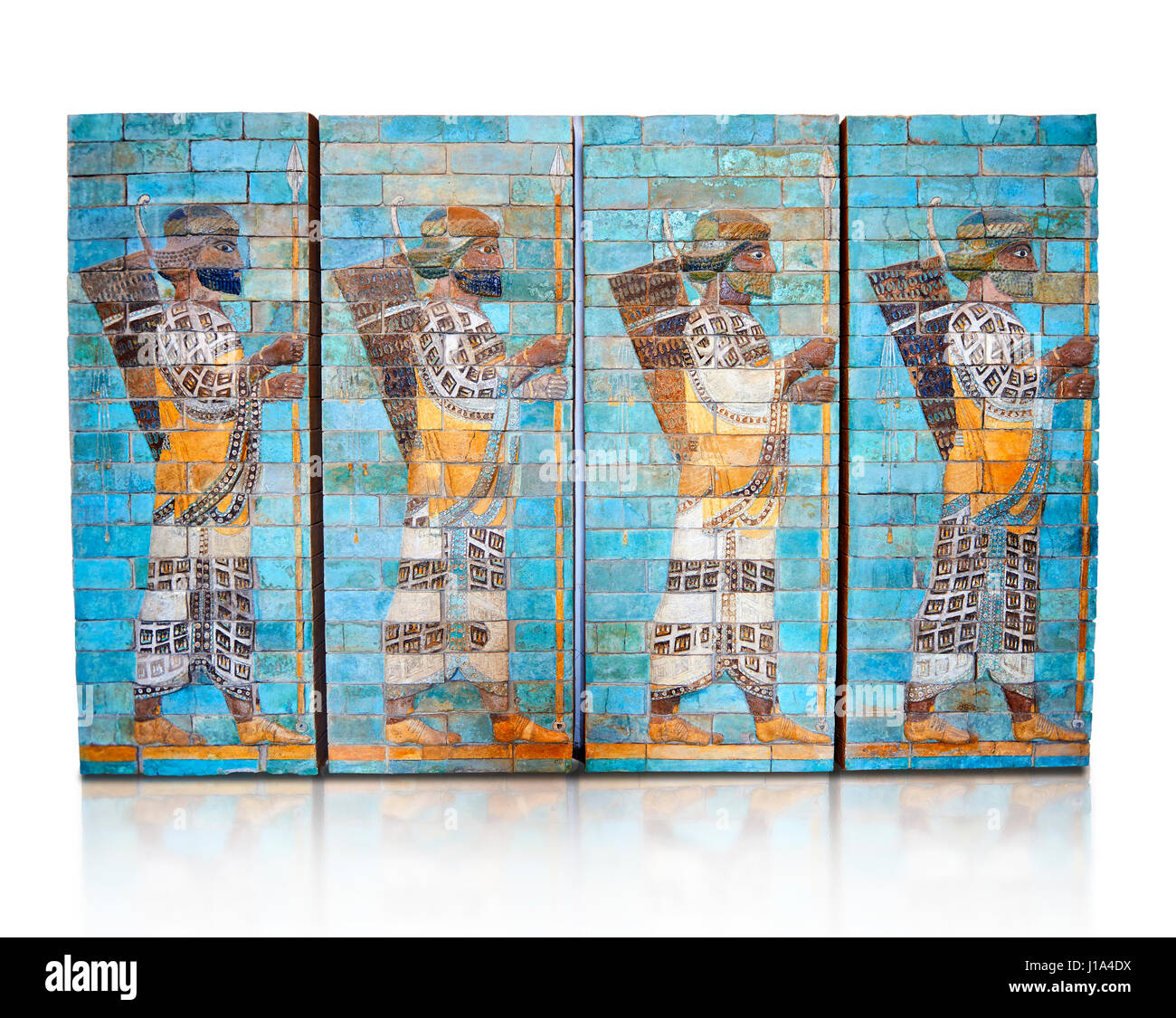 Coloured glazed terracotta brick panels depicting Achaemenid Persian royal bodyguards or archers, reign of Darius - Stock Image