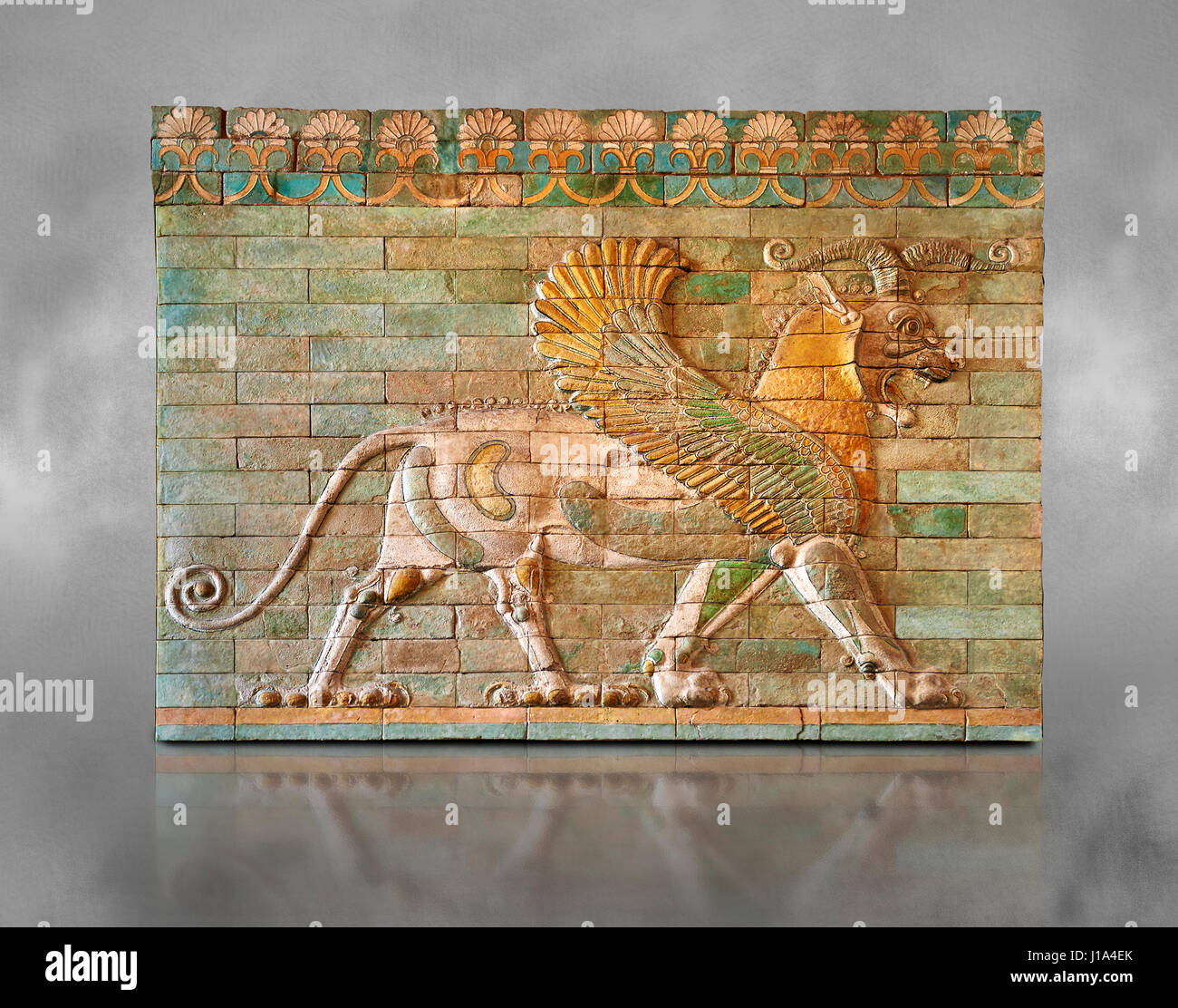 Coloured glazed terracotta tiled panels depicting mythical Griffins. From the reign of Darius 1st, Inv AS 332607, - Stock Image