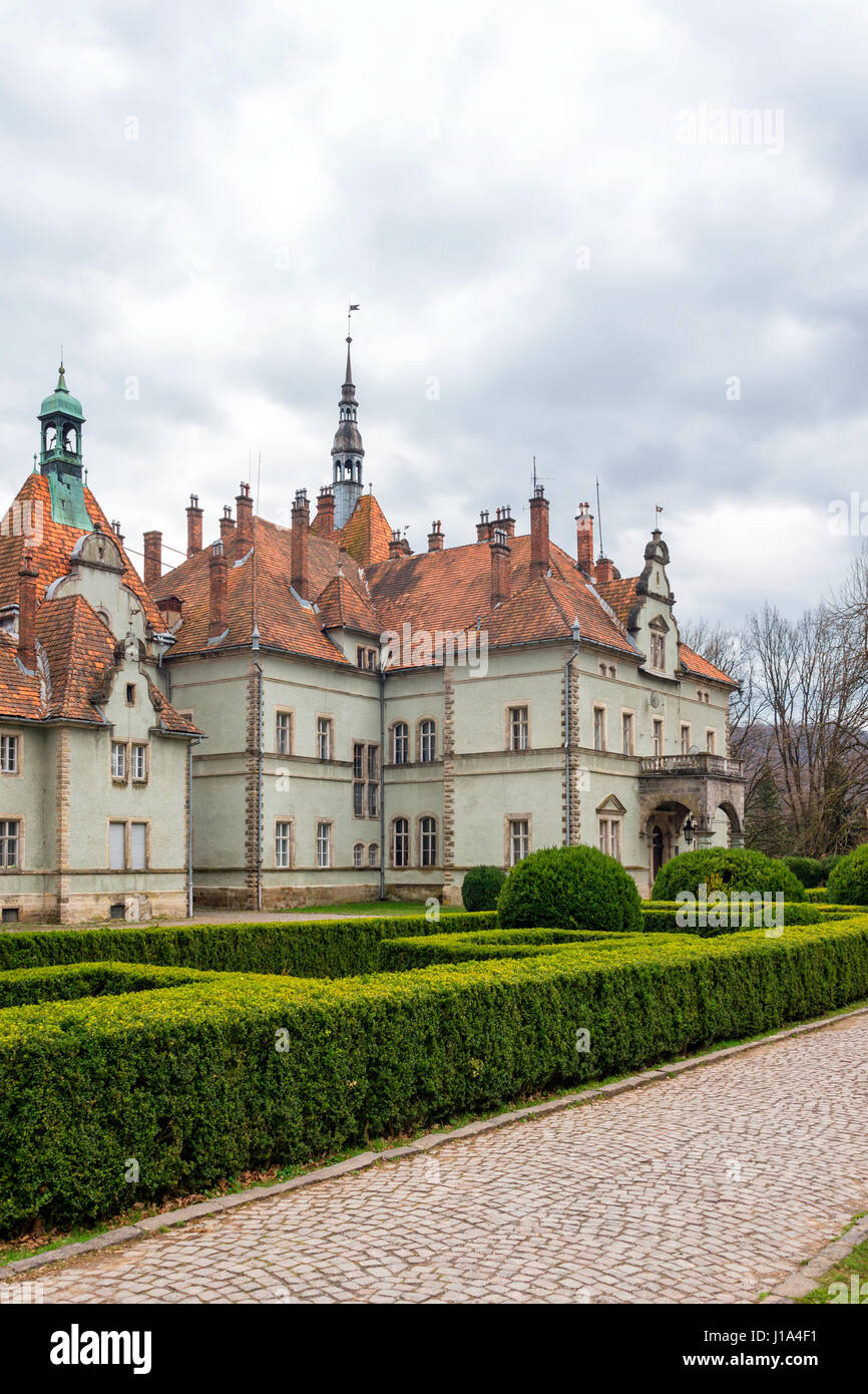 Hunting castle of Count Schonborn in Carpaty. In the past - Beregvar Village, Zakarpattja Region, Ukraine. Built - Stock Image