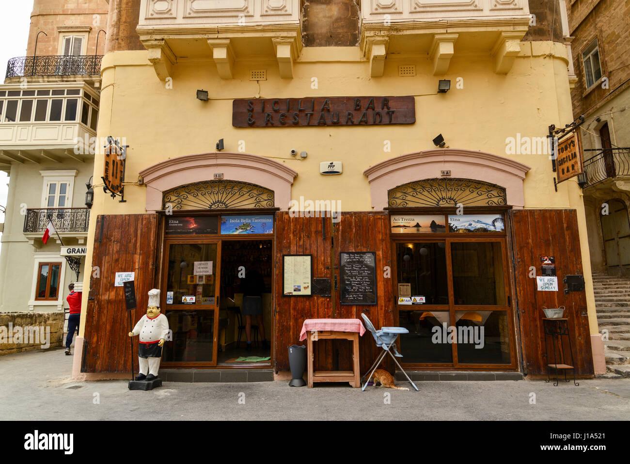 Tony's Sicilia Bar & Restaurant, St. Johns Street, Valletta, Malta - Stock Image