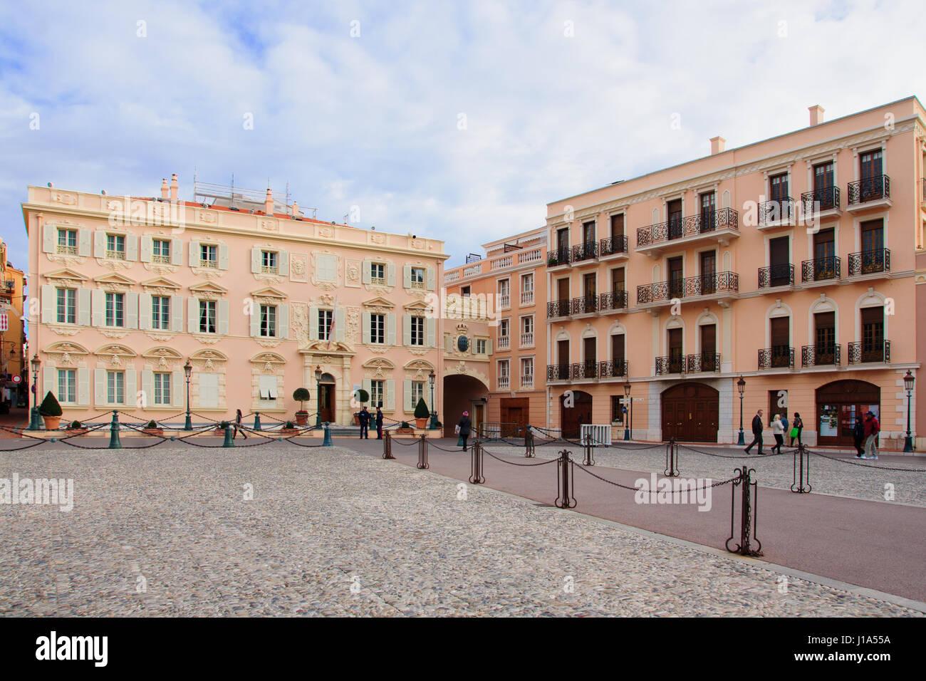 MONACO-VILLE, MONACO - JAN 26, 2015: Scene of the Place du Palais square (palace square) in Monaco-Ville, Monaco - Stock Image