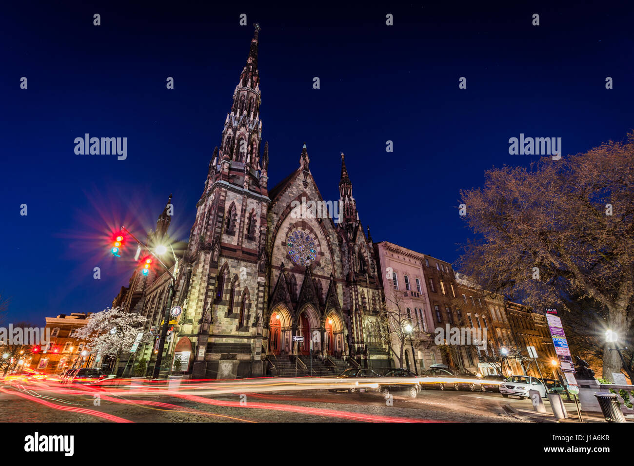 3e52e1ed298 Early learning center church in mount vernon baltimore maryland at night -  Stock Image