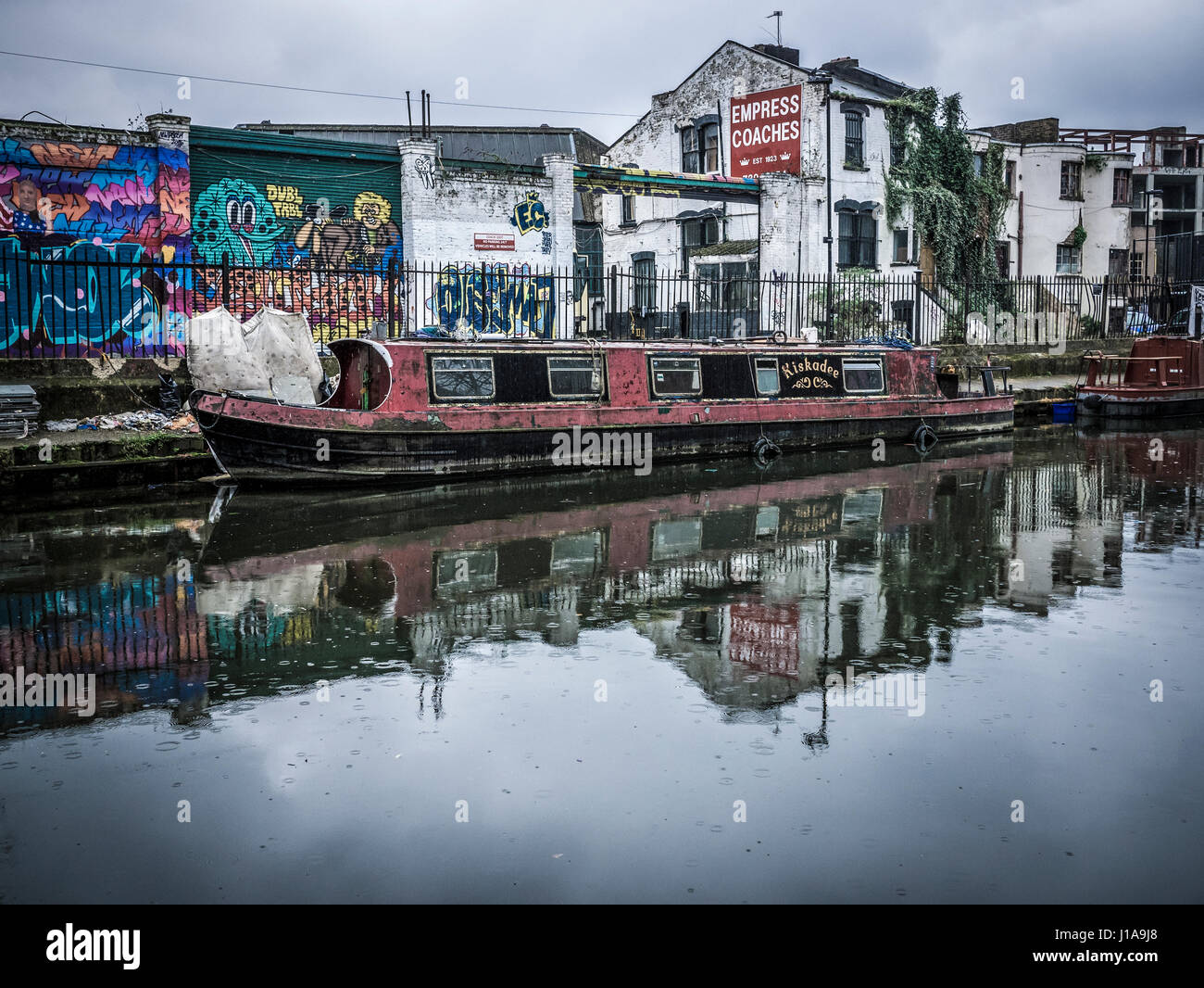 Canal Boat on Regent's Canal Towpath - Stock Image