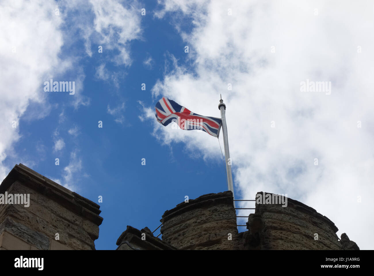 Lincoln Castle Union Flag waving - Stock Image