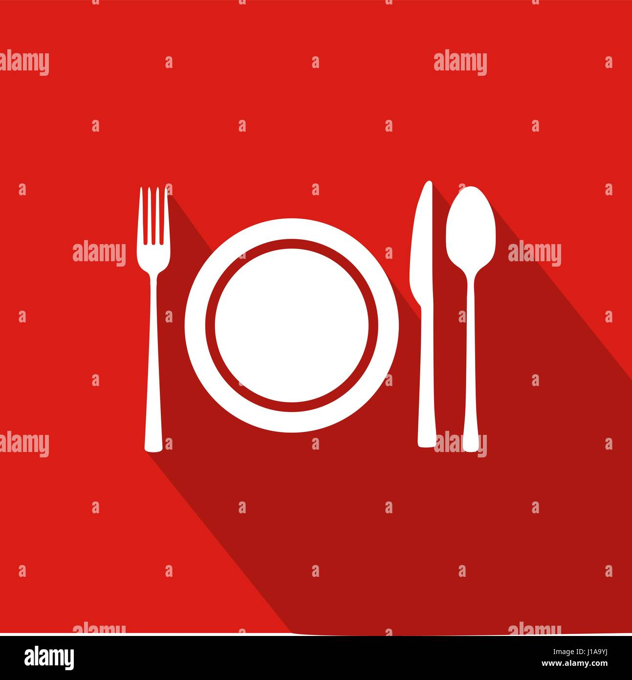Restaurant Flat Icon With Red Background, Vector, Illustration - Stock Vector