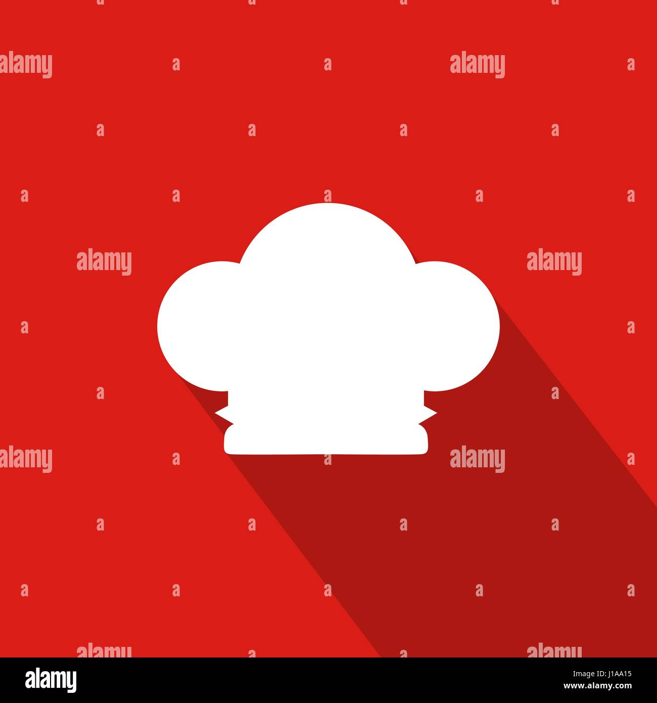 Chef Hat Flat Icon With Red Background, Vector, Illustration - Stock Vector