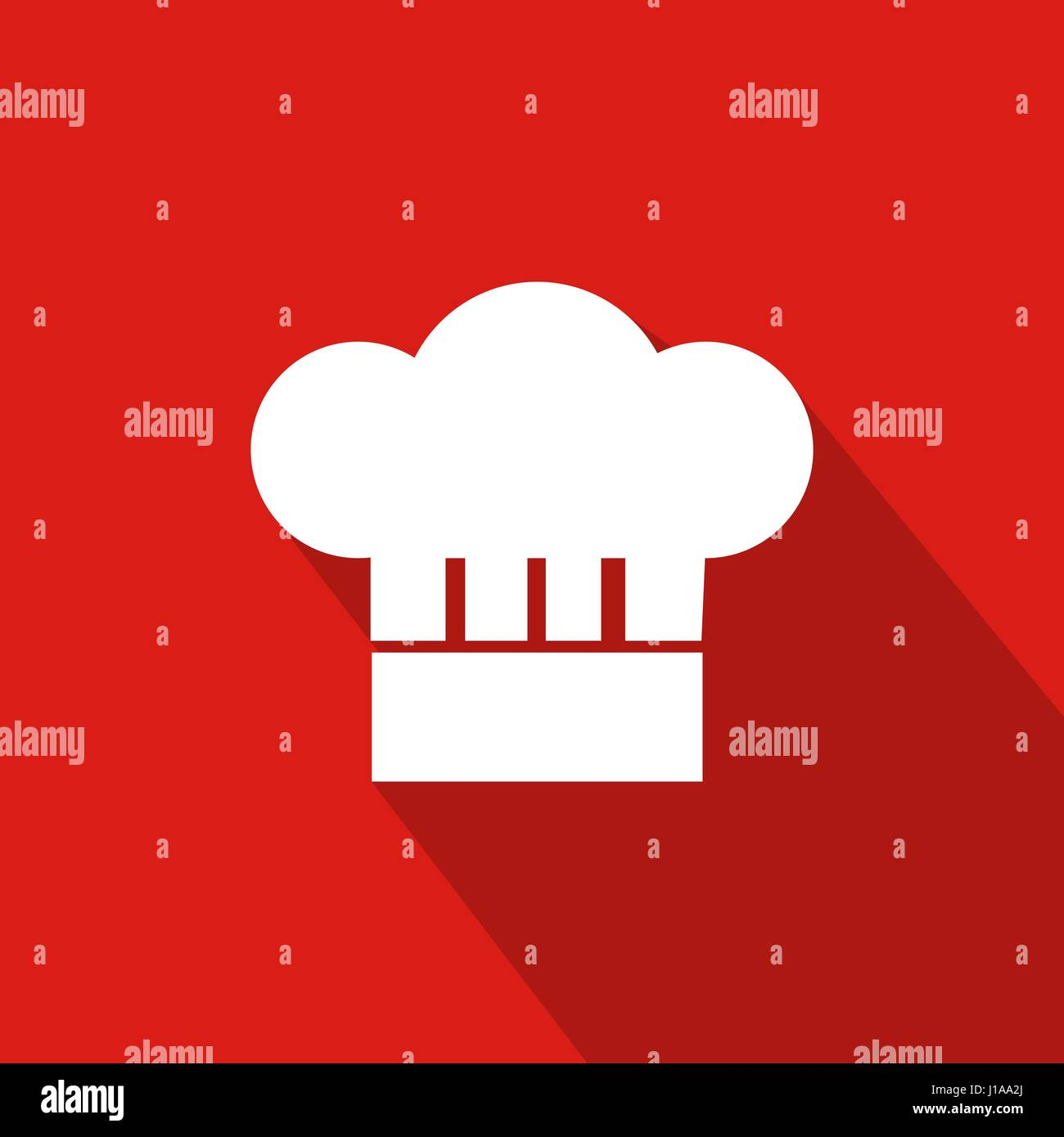 Chef Hat Flat Icon With Red Background, Vector, Illustration Stock Vector