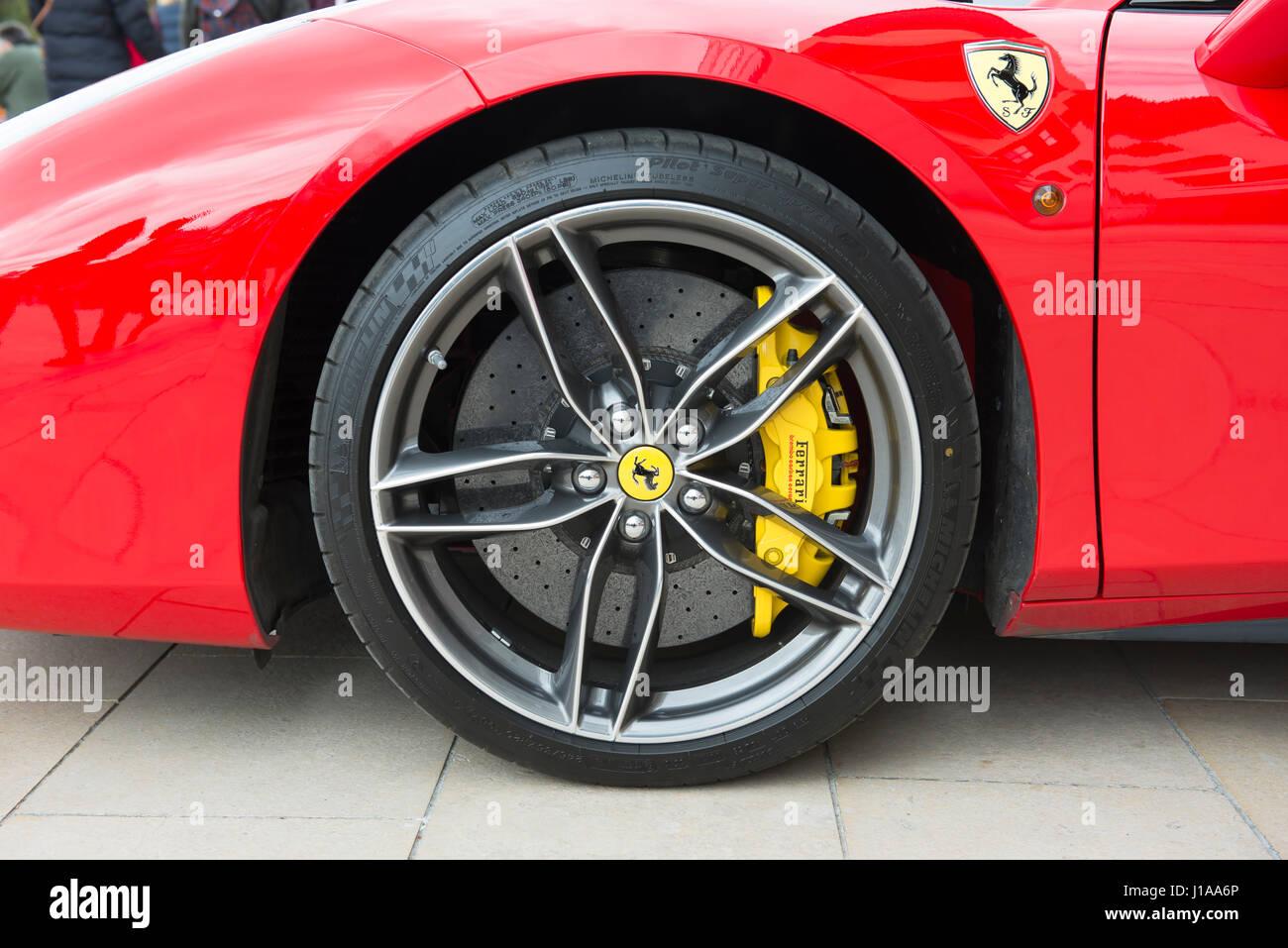 Alloy Front Wheel Of Ferrari 488 Spider Showing Brembo Carbon Ceramic Stock Photo Alamy