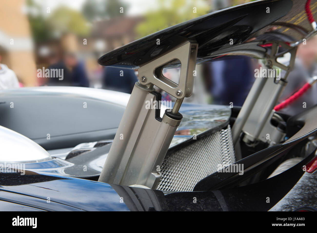 Detail of the rear wing mechanism of the £1.3M Bugatti Veyron hypercar - Stock Image