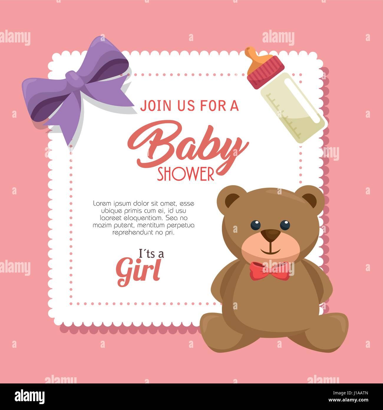 baby shower invitation card Stock Vector Art & Illustration, Vector ...