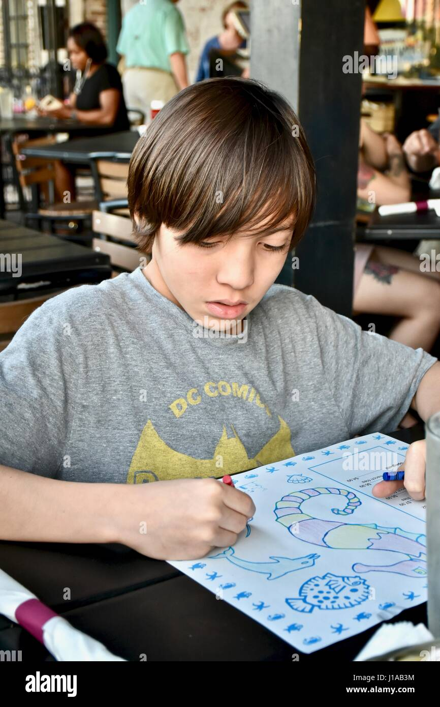 Young Boy Drawing On A Restaurant Color Sheet
