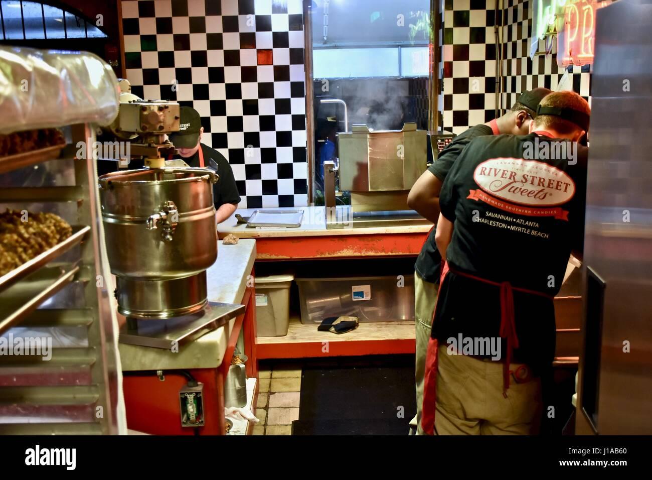 charleston south carolina woman making candy at savannahs candy kitchen of charleston - Savannahs Candy Kitchen